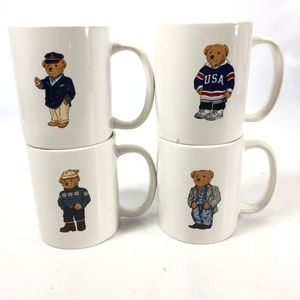 RALPH LAUREN Lot of 4 Mugs Polo Bears Vintage 1997